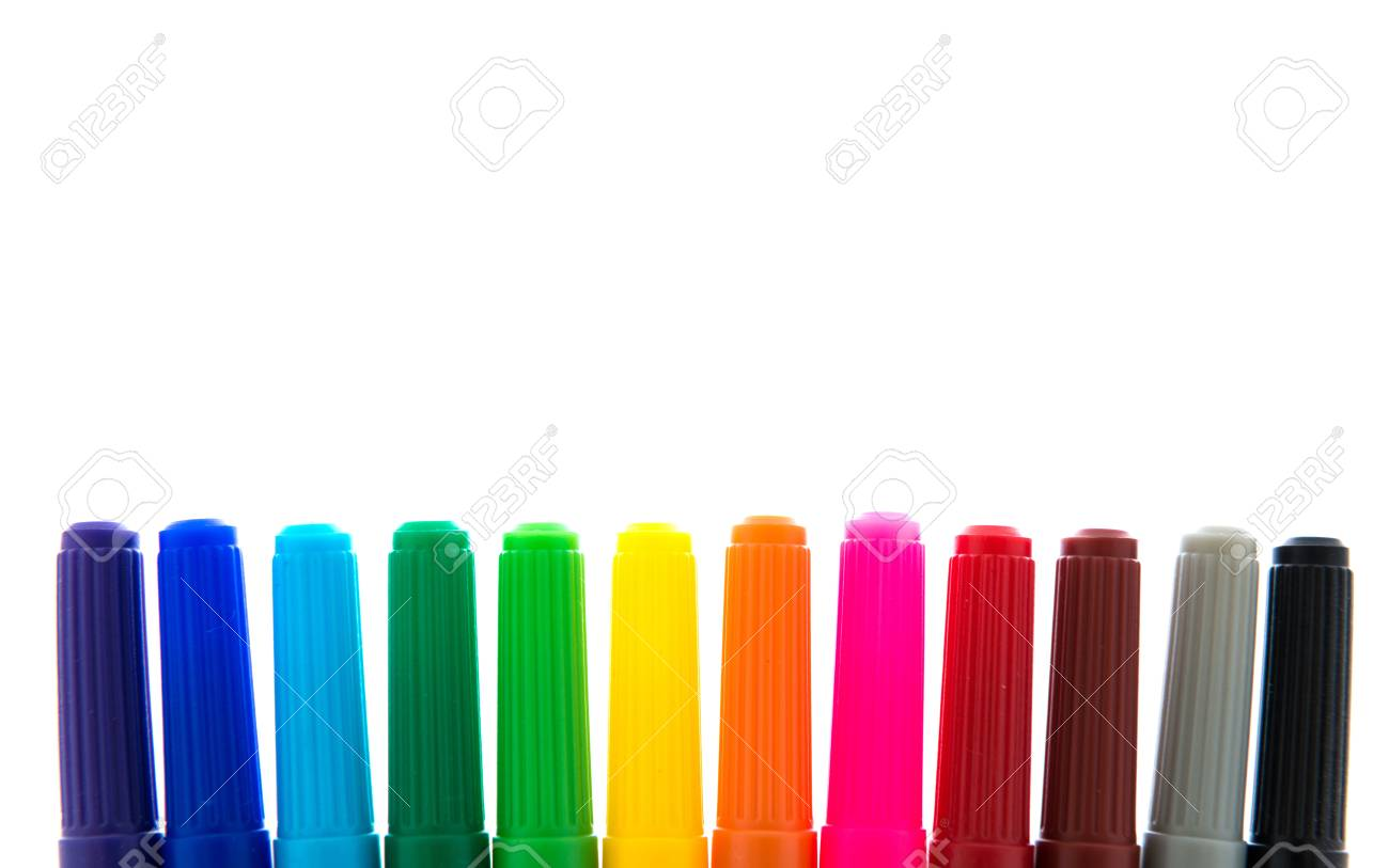 Many colorful felt tip pens isolated on white Stock Photo - 20575959