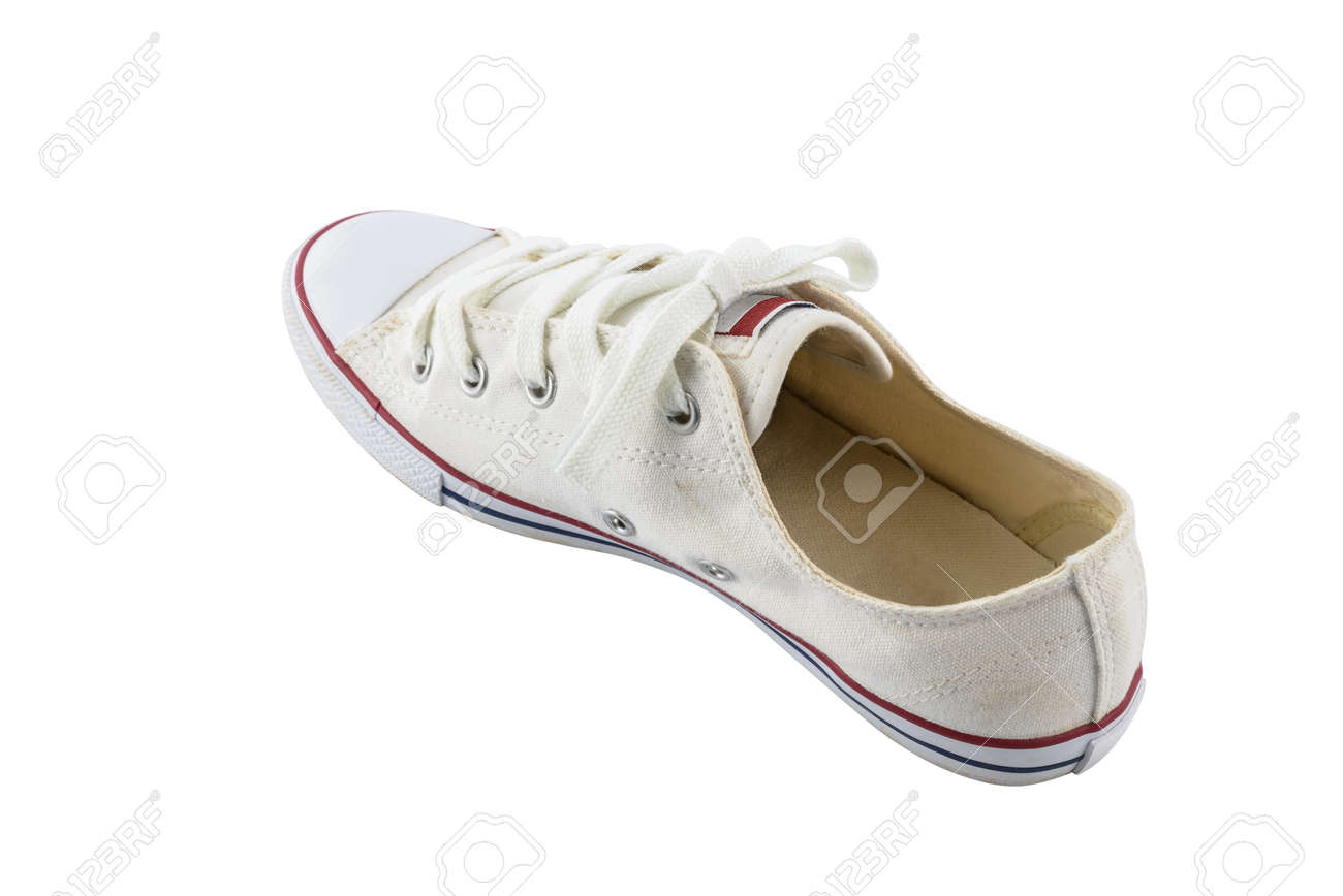 ToileEspadrilles Avec Blanc Sur Fond Blanches De Isolés Un Détourage Chaussures Tracé 0wOknP