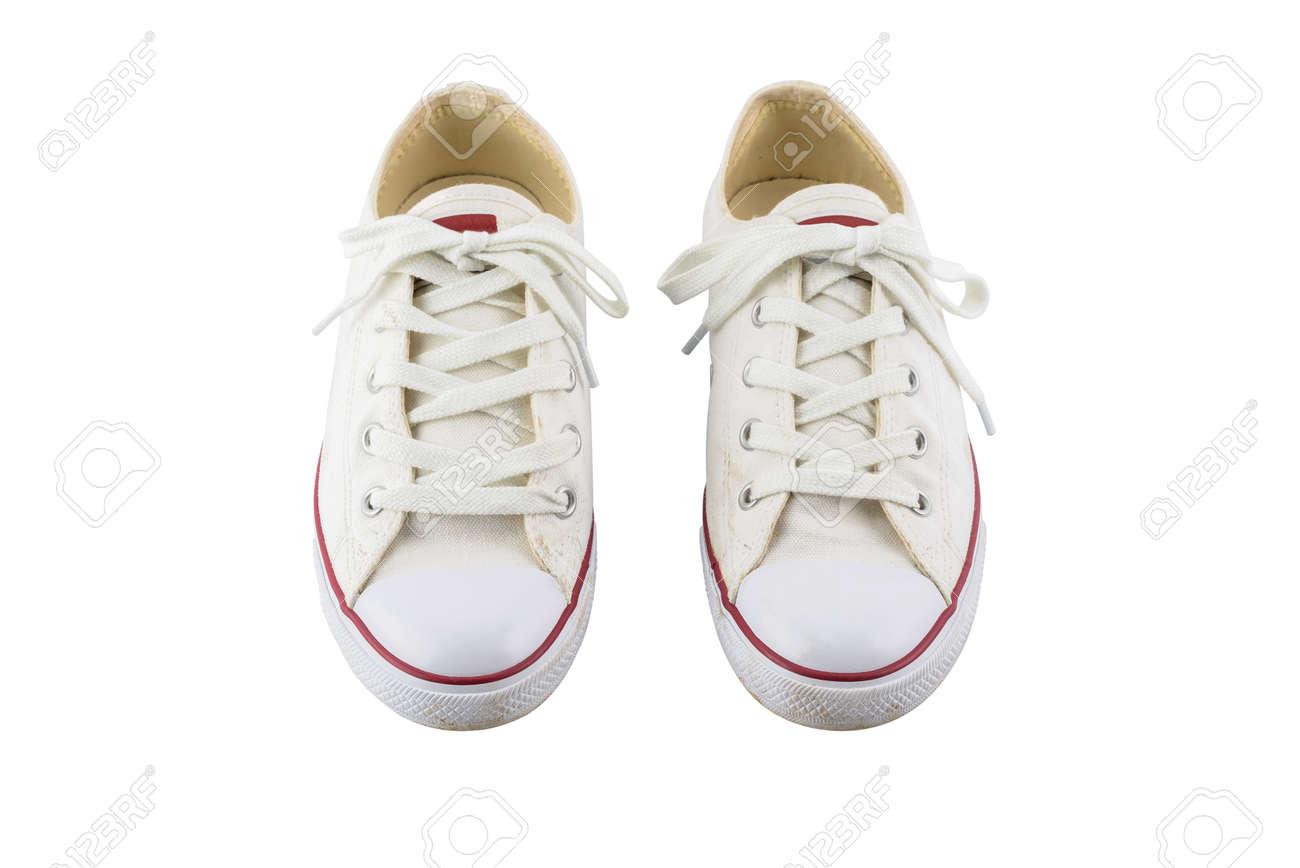 41129bd617082 Aislados Blanco Zapatos Fondo De Par Un De Con Lona Blancos Sobre qzYWEAw