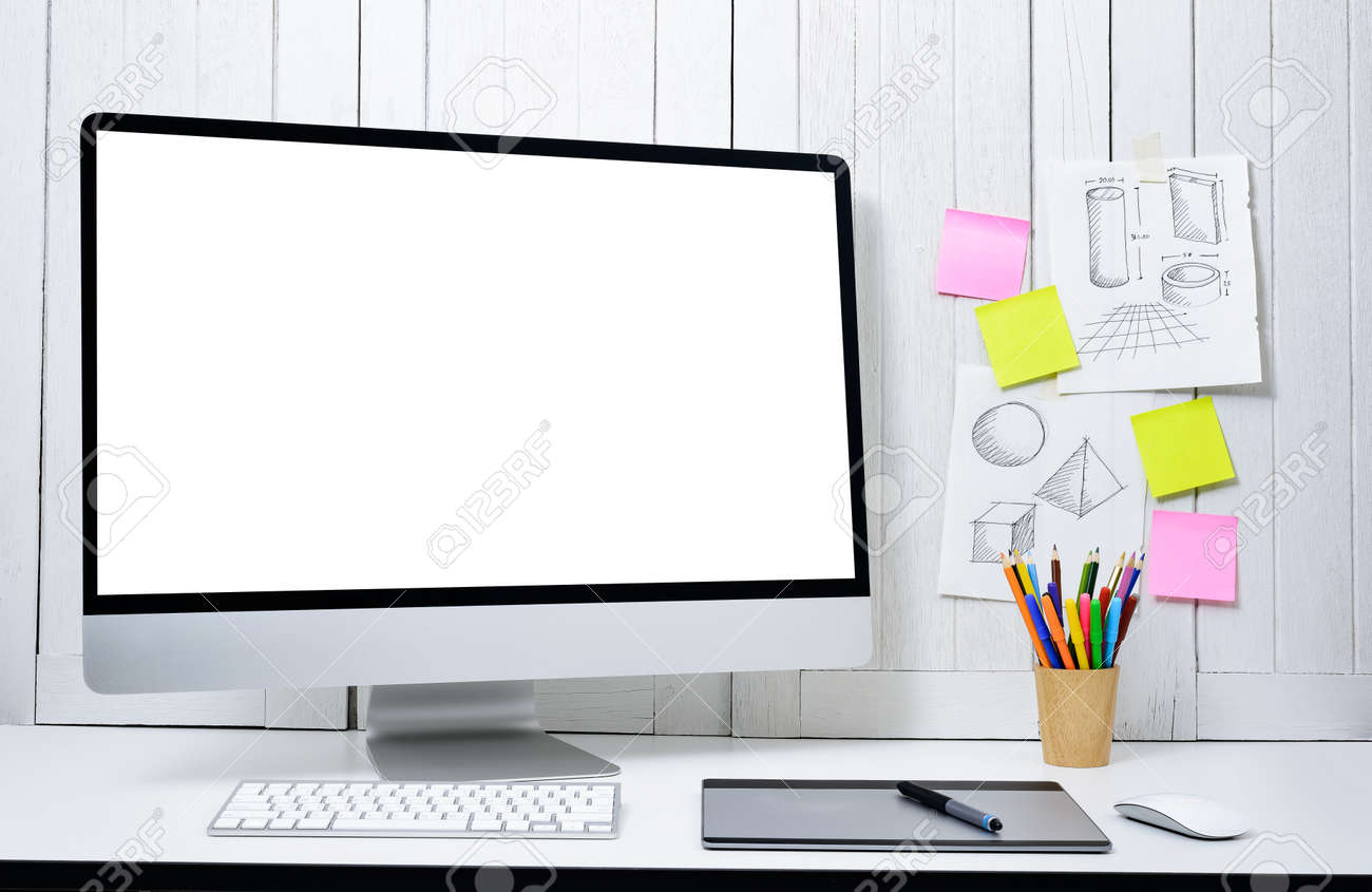 Workplace Background For Designers With Blank White Screen Modern.. Stock  Photo, Picture And Royalty Free Image. Image 101219834.