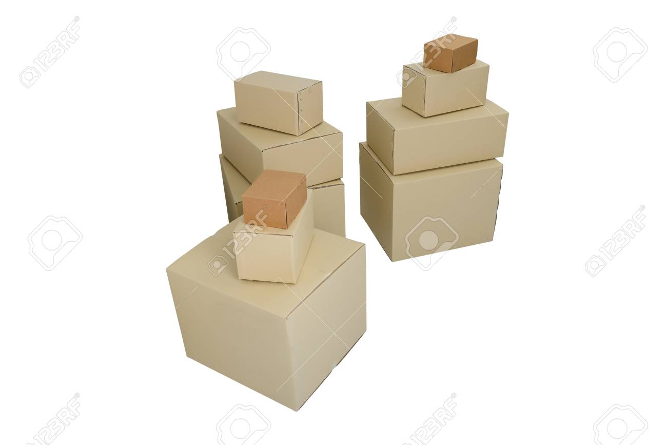 cardboard boxes in different sizes stacked boxes isolated on stock