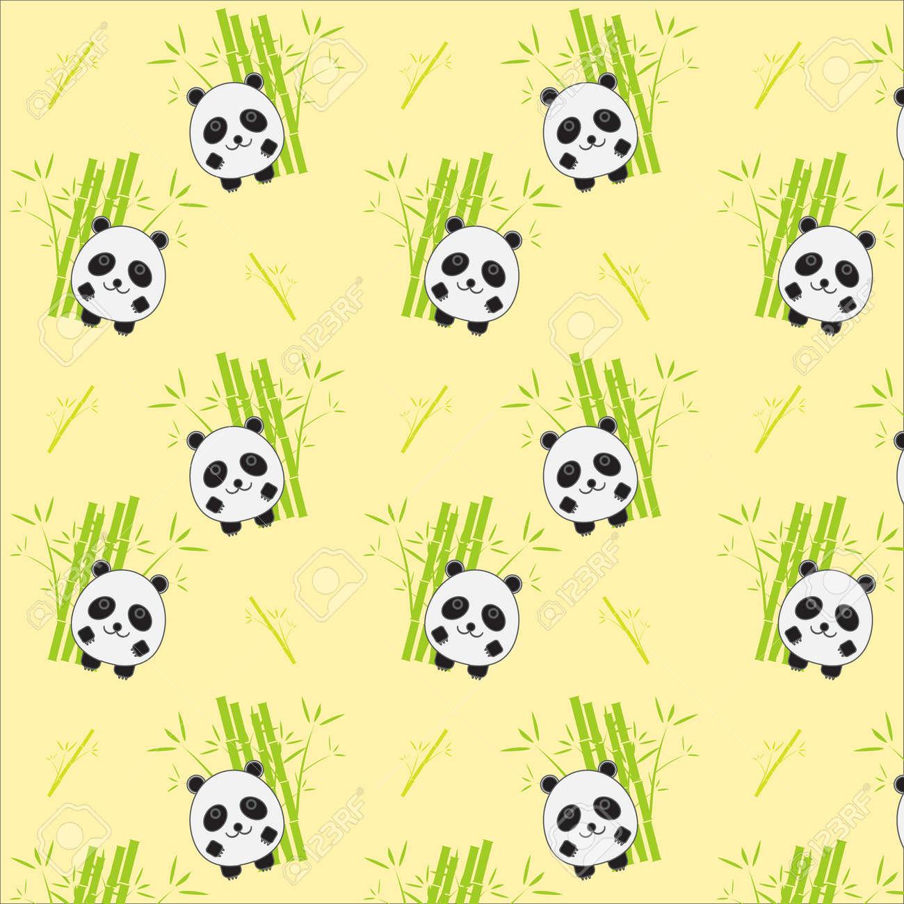 Seamless Background With Cartoon Panda Illustration Panda And