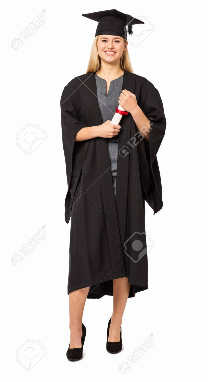 Full Length Portrait Of College Student In Graduation Gown Holding ...