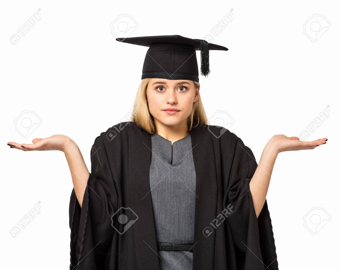 Portrait Of College Student In Graduation Gown And Mortar Board ...