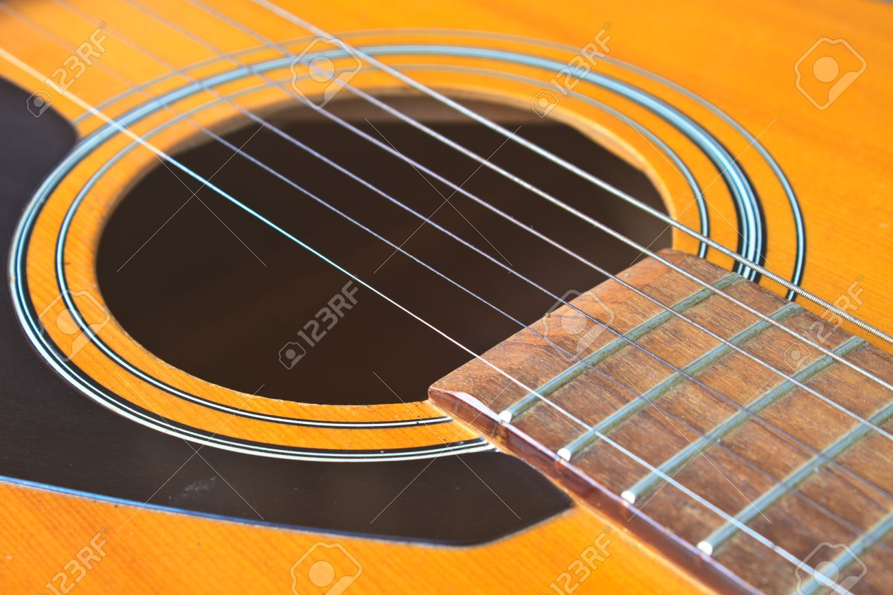 Acoustic Guitar Wood Color Close Up The Guitar Background Stock