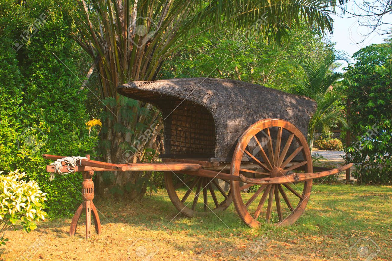 Old Wooden Cart On Two Wheels In Garden Stock Photo, Picture And ...