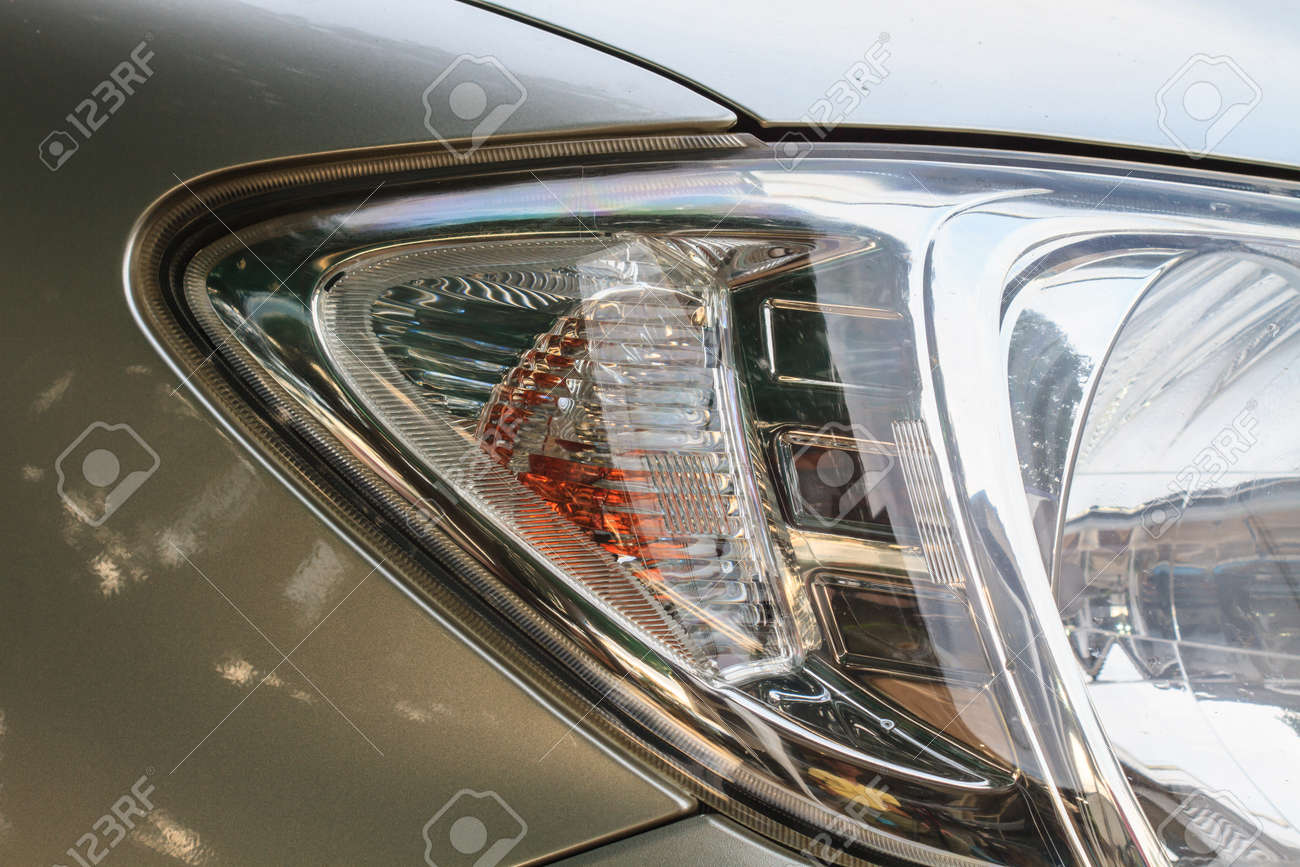 Close Up Headlights Of Car Background And Texture Stock Photo