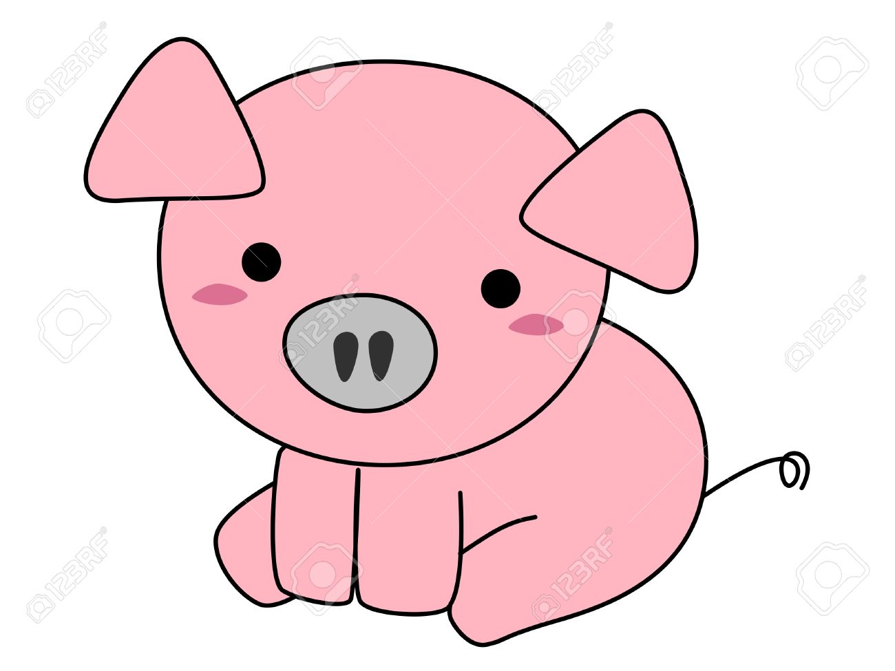 pink pig cartoon isolated on white background stock photo picture
