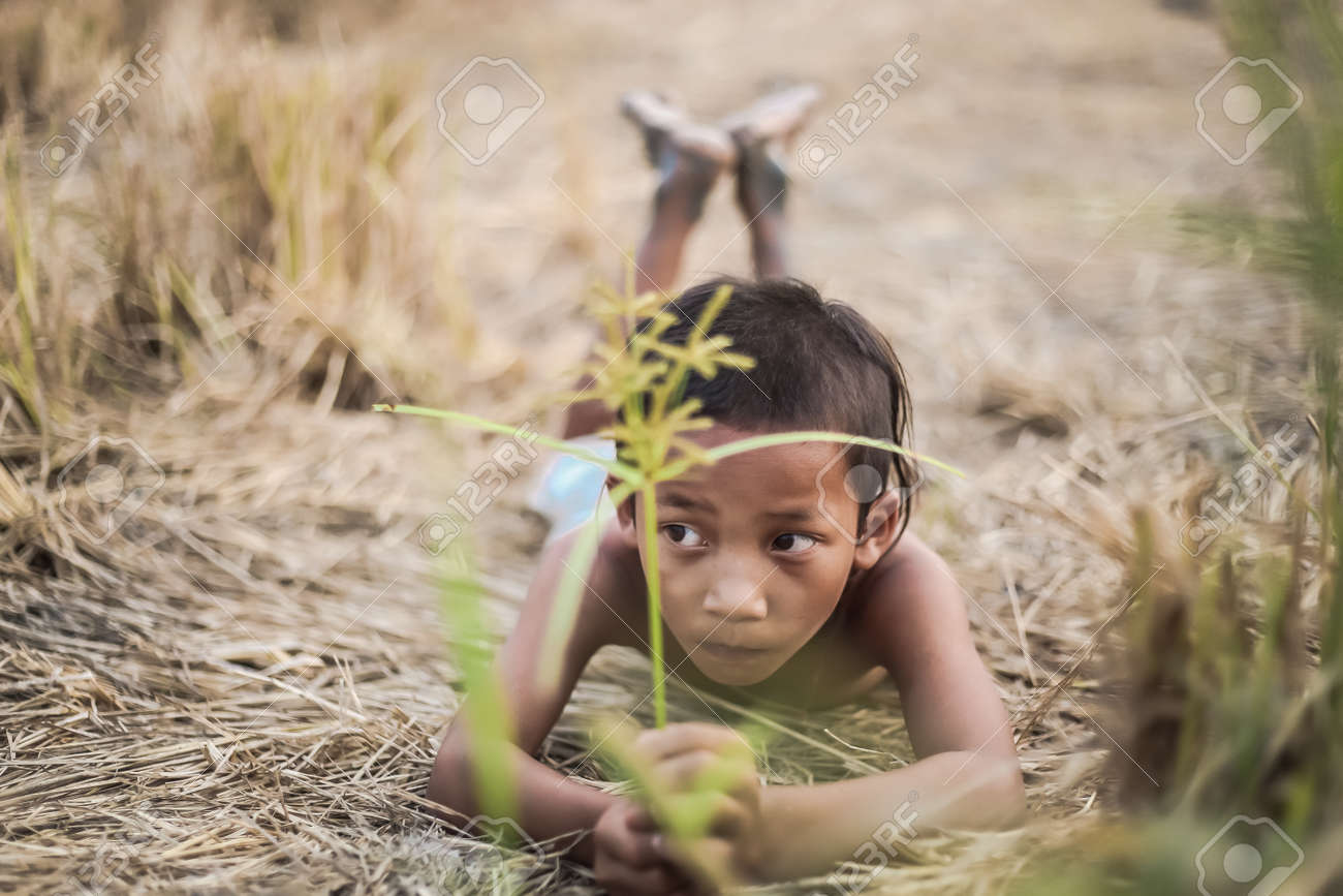 A Boy Thai Ancient Hairstyle Play In Farm Stock Photo Picture And