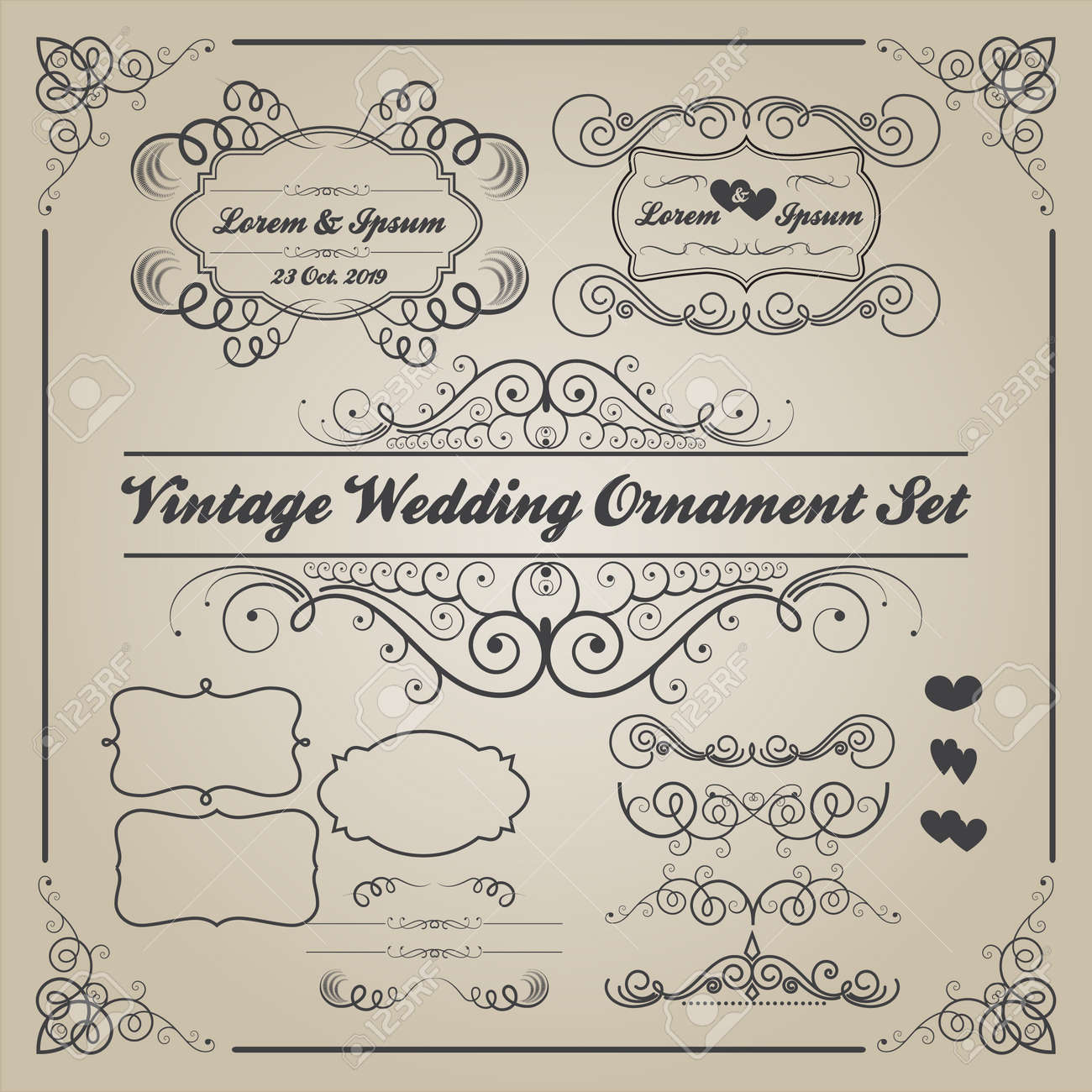 Set of vintage wedding ornaments and decorative elementsbanner set of vintage wedding ornaments and decorative elementsbanner frames badge vector love element stock vector junglespirit Images