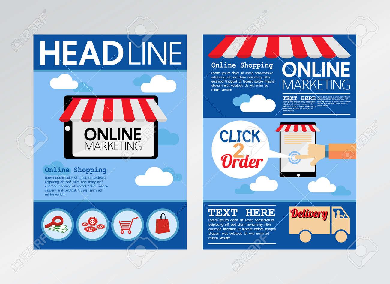 e commerce online marketing magazine cover flyer brochure templatea4