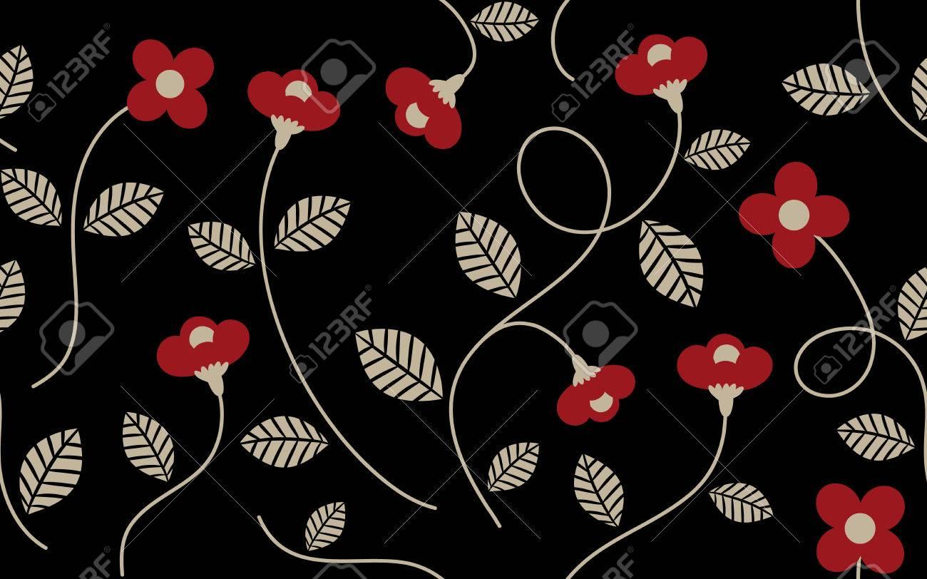 Vintage Red Flower And Leaves Pattern On Black Background For
