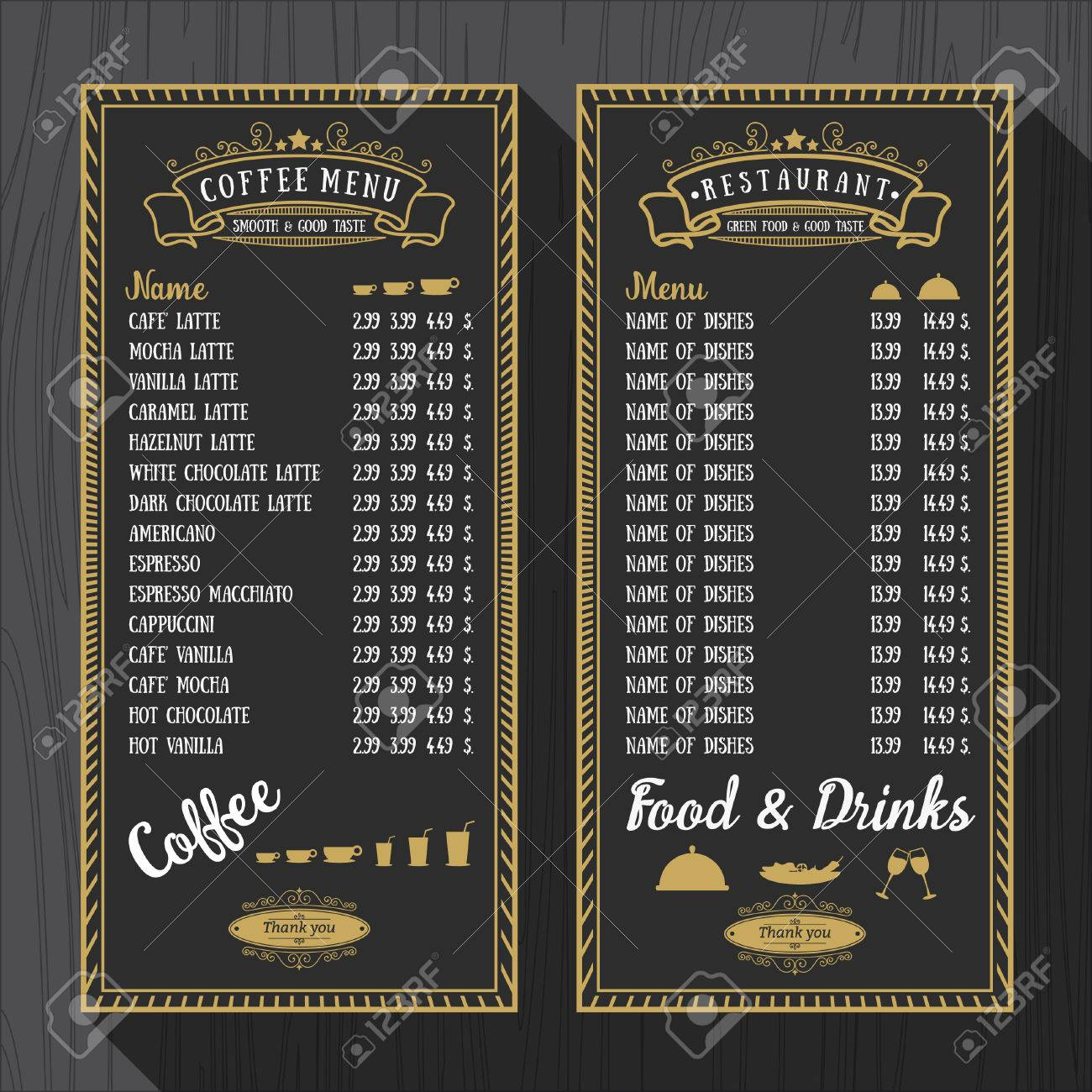 coffee menu and restaurant menu template in vintage style for