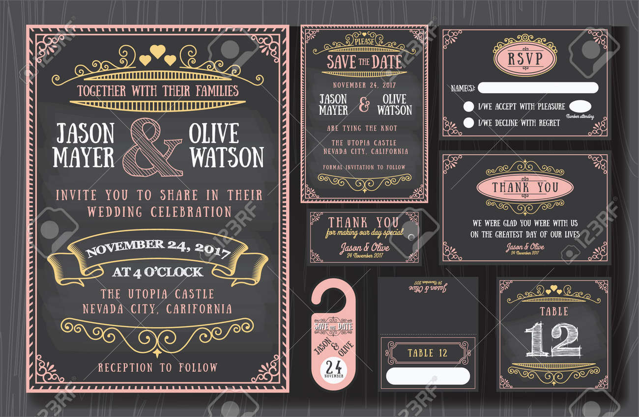 Vintage wedding invitation chalkboard design sets include Invitation card, Save the date, RSVP card, Thank you card, Table number, Gift tags, Place cards, Respond card, Save the date door hanger Stock Vector - 42816390