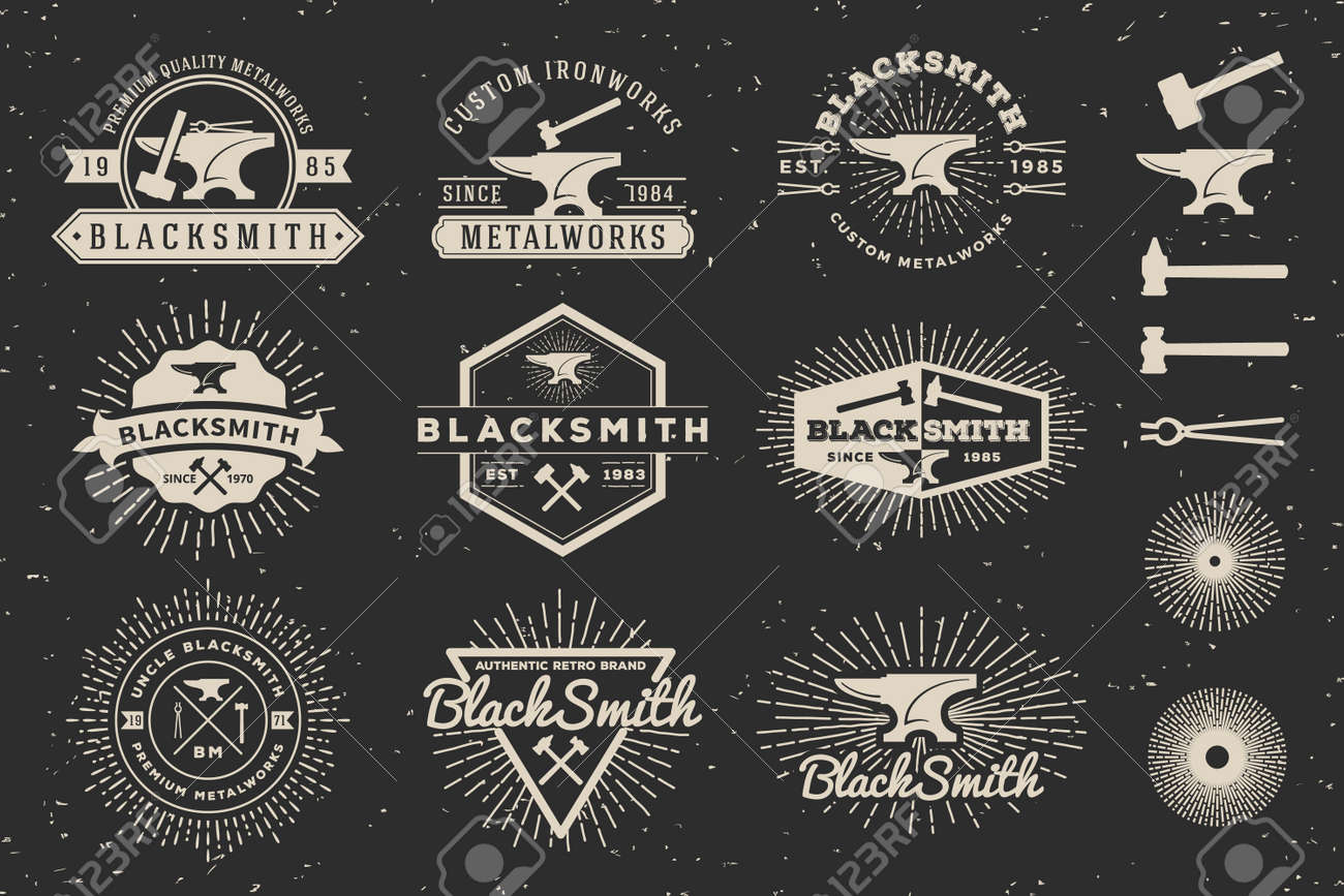 modern vintage blacksmith and metalworks badge logo template