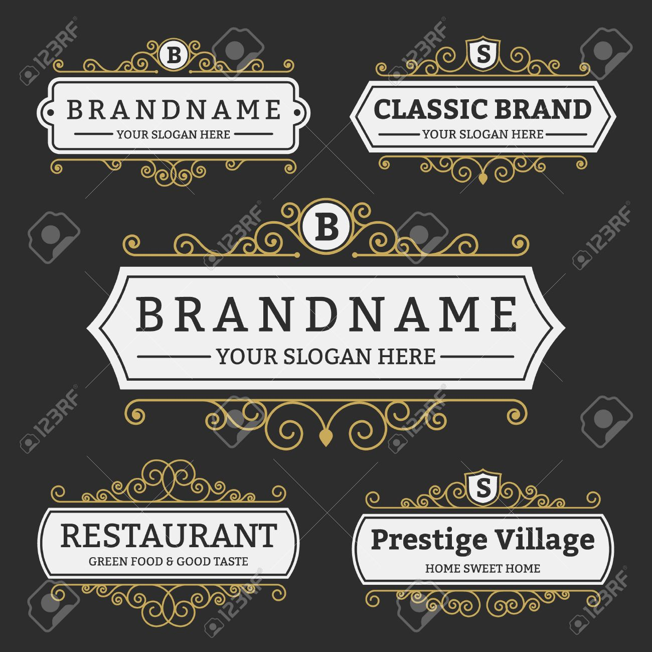 Vintage Badge And Labels Brand Name Collection, Design For Menu ...