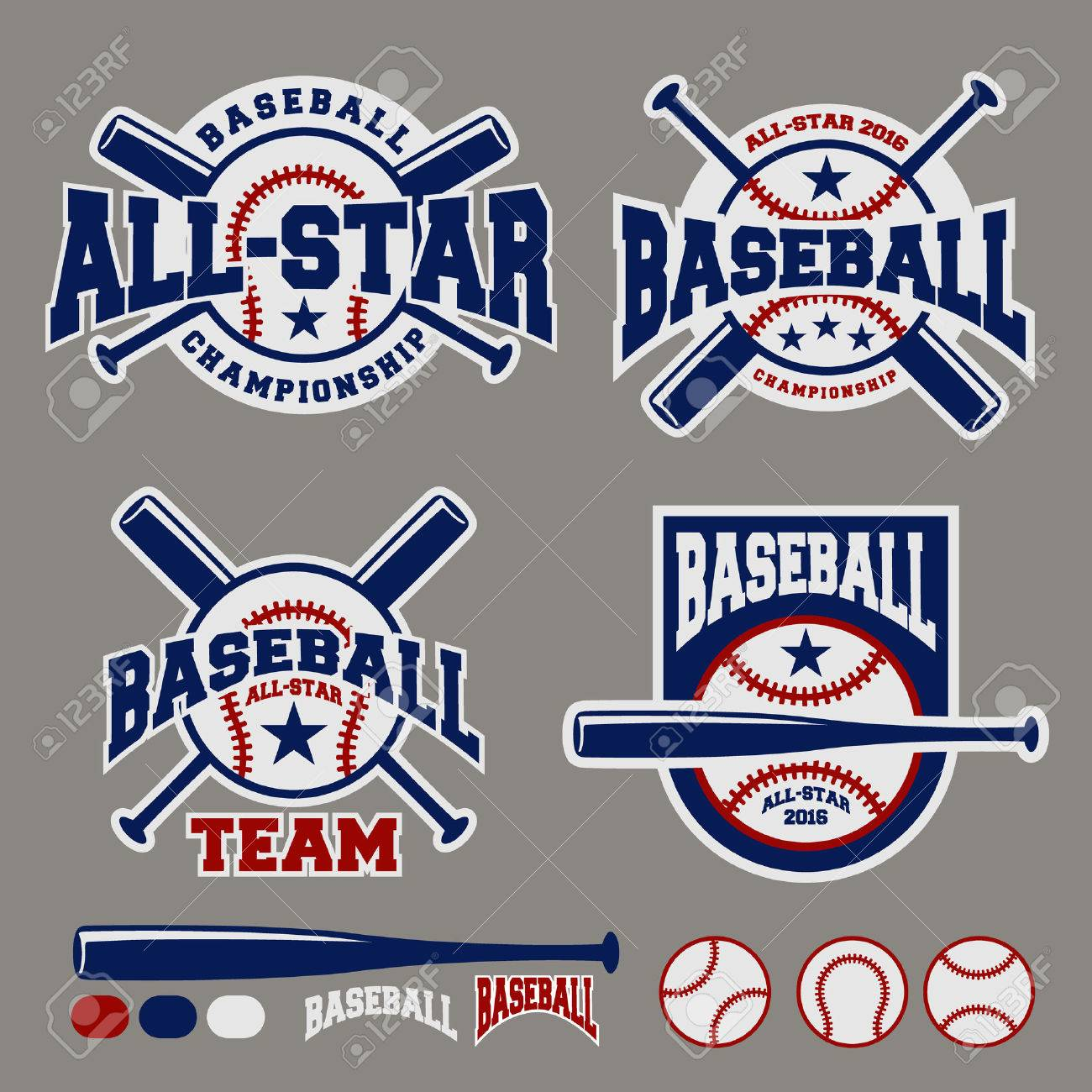 Set Of Baseball Sport Badge Logo Design Template And Some Elements ...