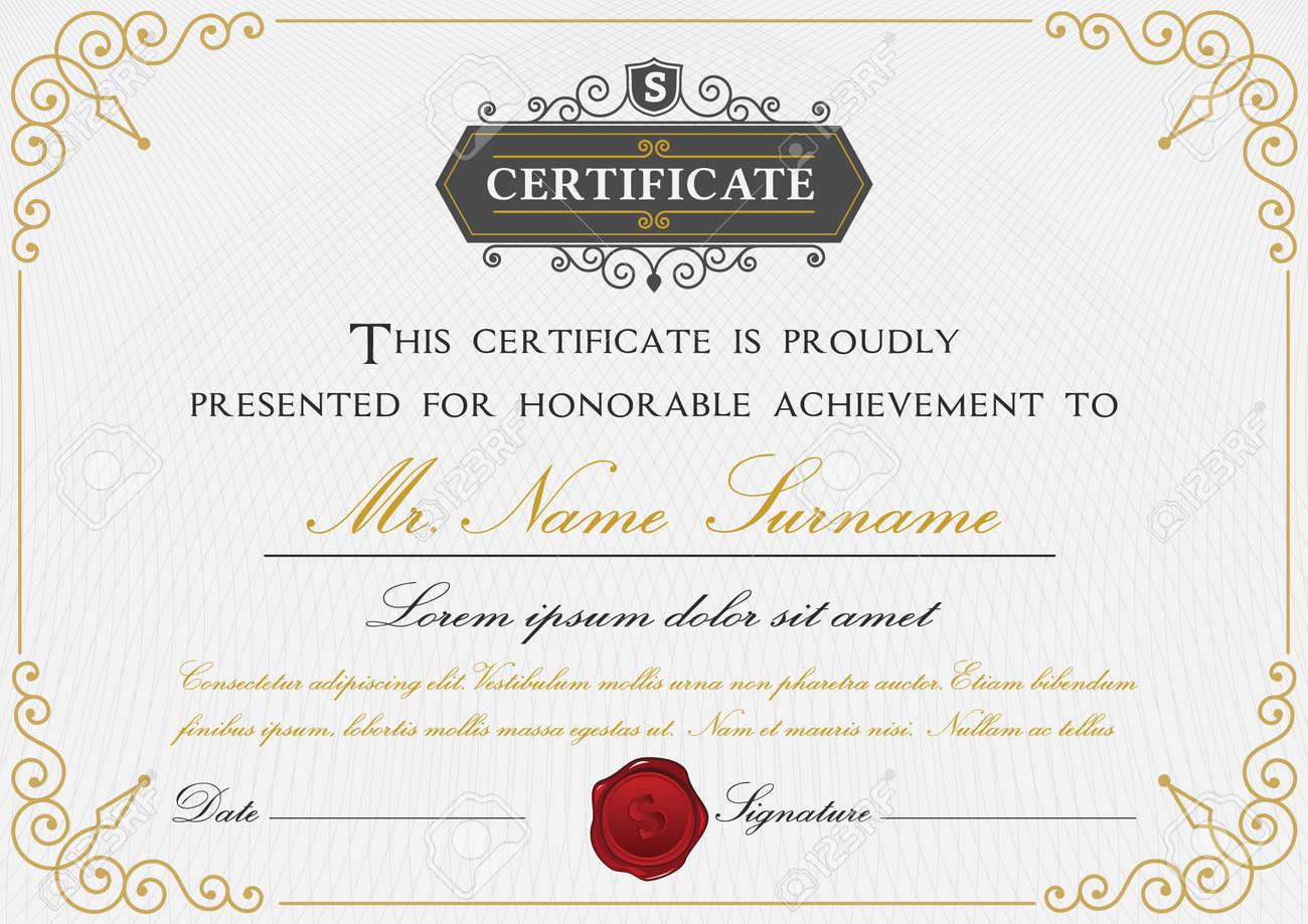 Elegant Certificate Template Design With Border, Sealing Wax ...