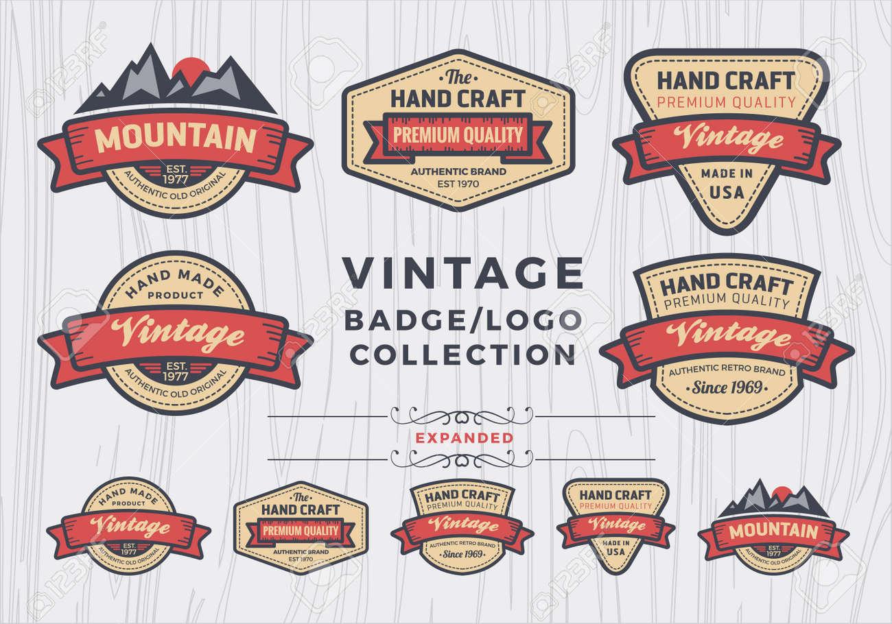 Set of vintage badgelogo design, retro badge design for logo, banner, tag, insignia, emblem, label element - 42817090