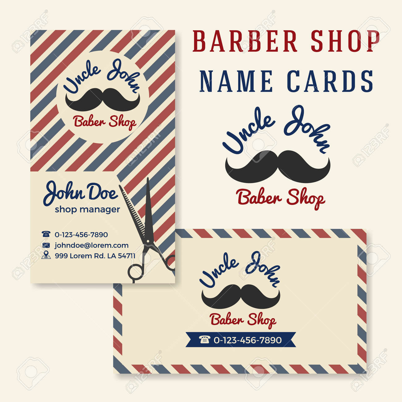 vintage barber shop business name card template royalty free