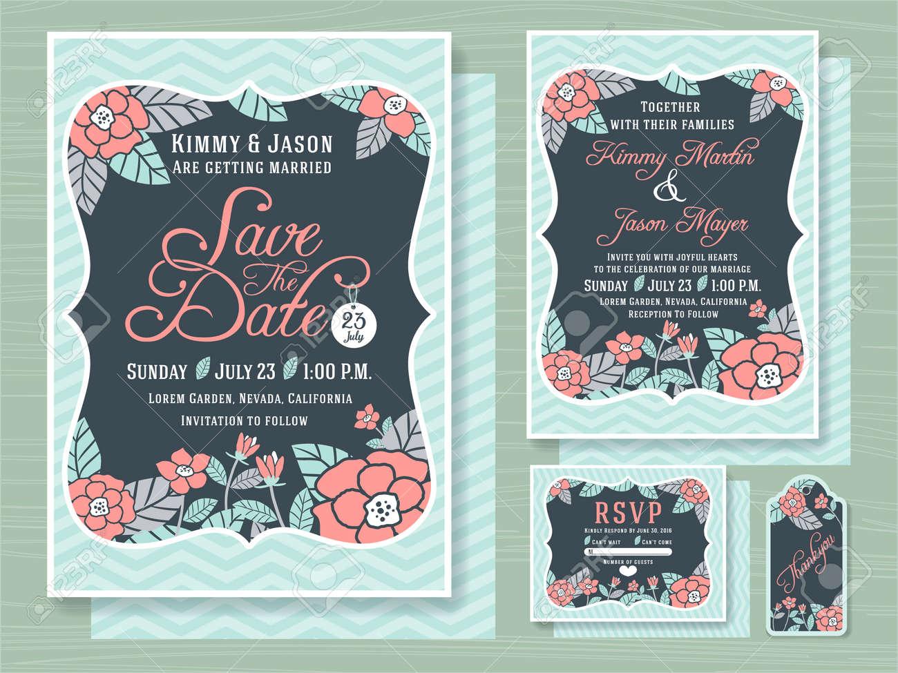 Verpflichtungs-Einladungsschablone Mit Topischen Blumen-Design In ...