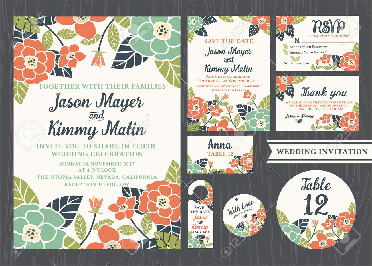 Tropical Flower Wedding Invitation Vintage Design Sets Include ...