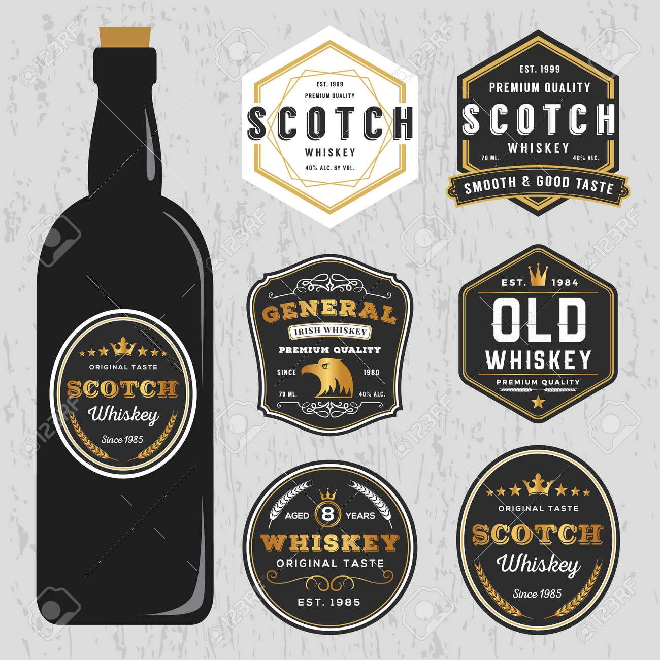 vintage premium whiskey brands label design template resize
