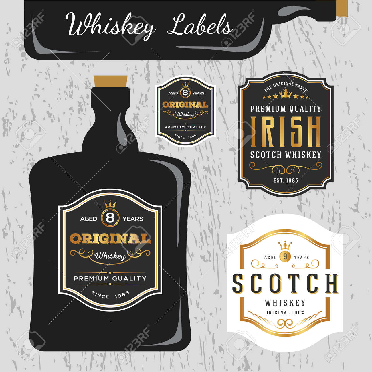 Whisky Marcas Etiqueta Plantilla De Diseño, Cambiar El Tamaño De La ...