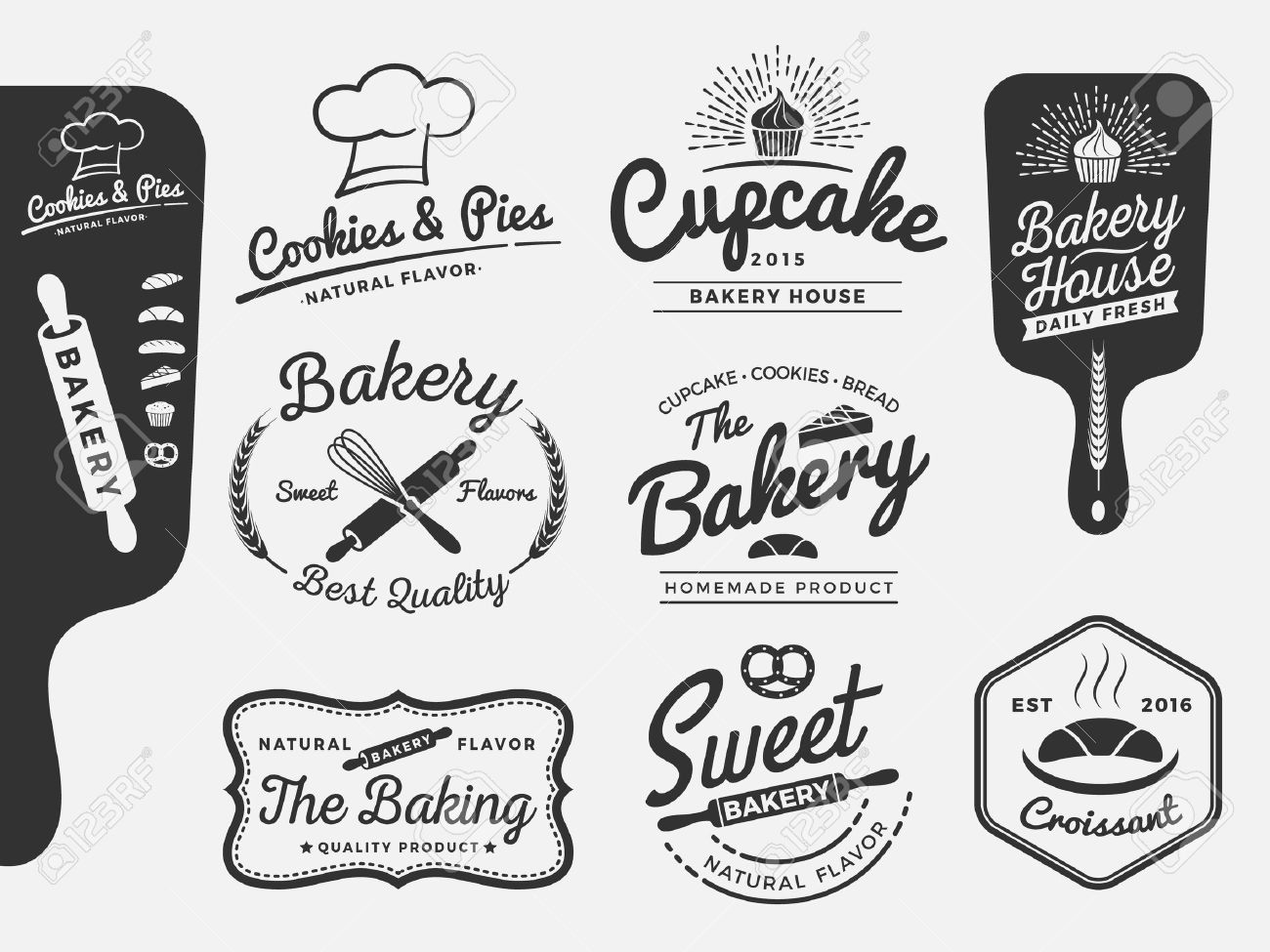 Set Of Bakery And Bread Logo Labels Design For Sweets Shop Bakery