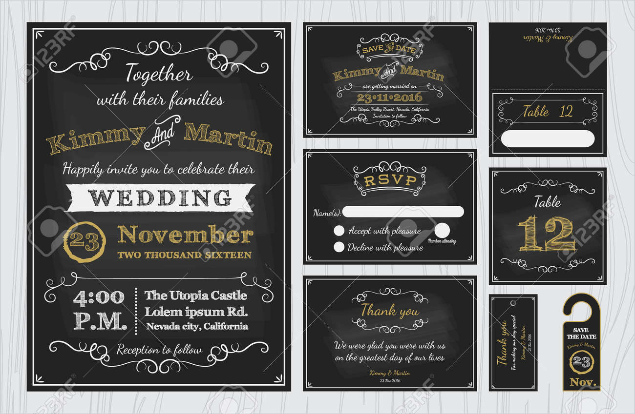 Vintage Chalkboard Wedding Invitations design sets include Invitation card, Save the date, RSVP card, Thank you card, Table number, Gift tags, Place cards, Respond card, Save the date door hanger - 42872556