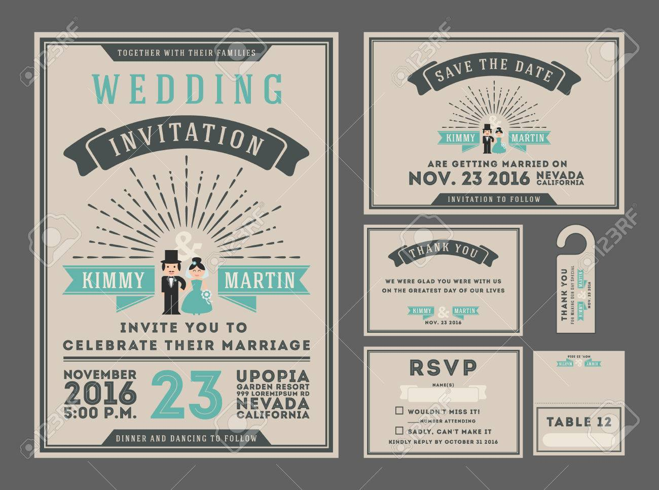 Classic Vintage Sunburst Wedding Invitation Design With Couple