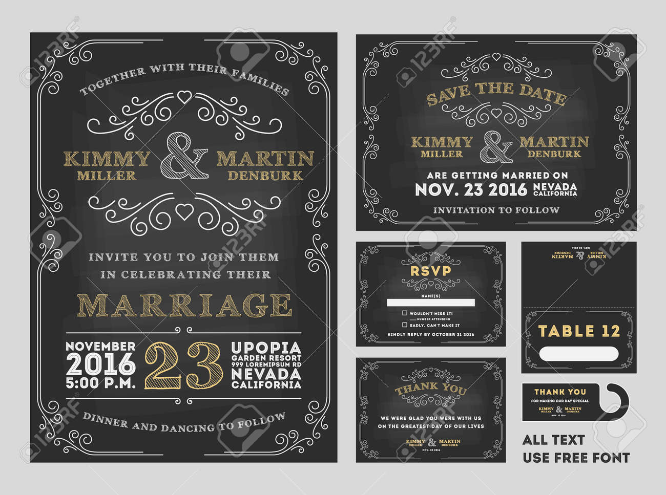 Vintage Chalkboard Wedding Invitations design sets include Invitation card, Save the date card, RSVP card, Thank you card, Table number, Gift tags, Place cards, Save the date door hanger Stock Vector - 43615603