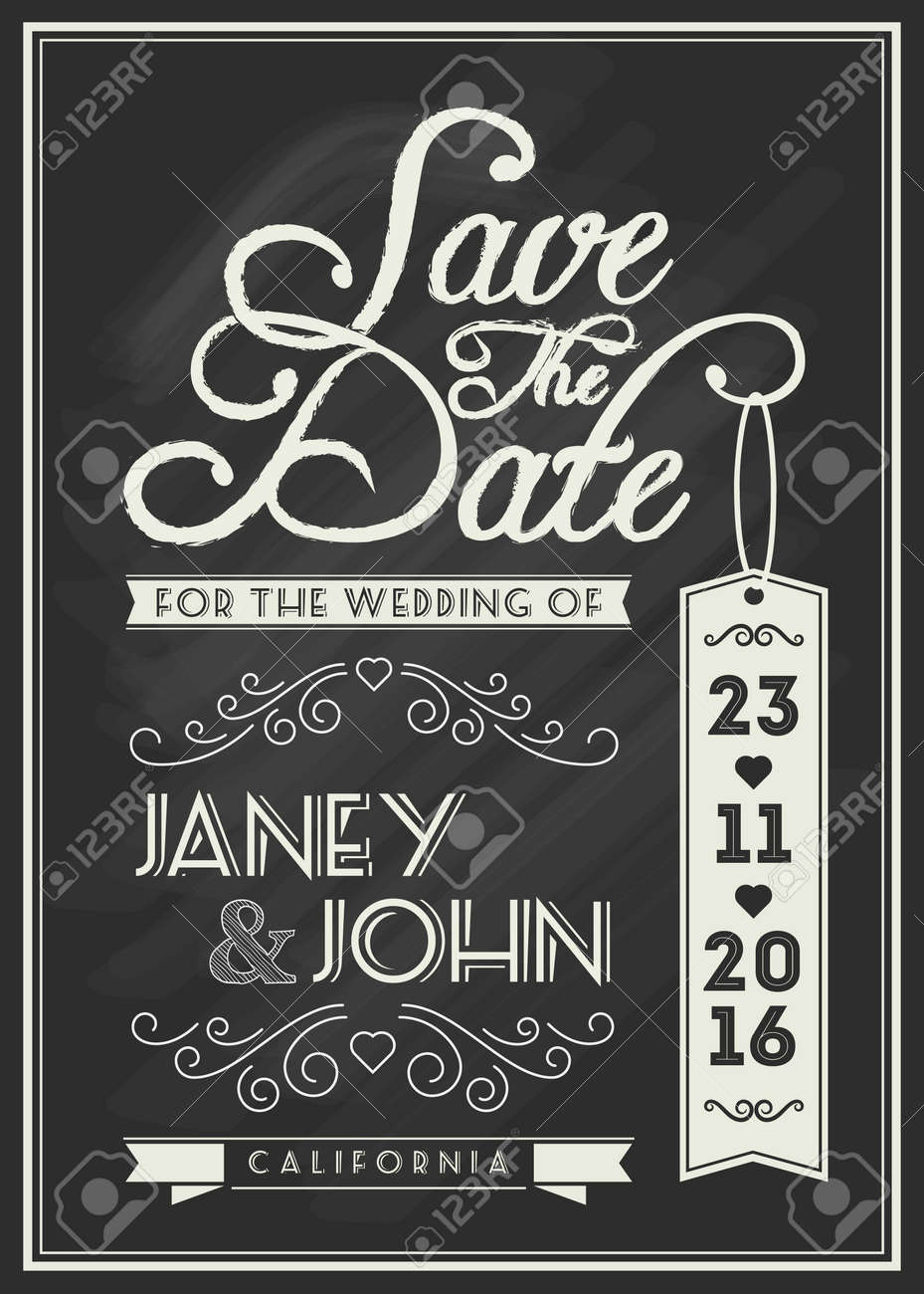 save the date card template design with typography and flourish line art on chalkboard theme for