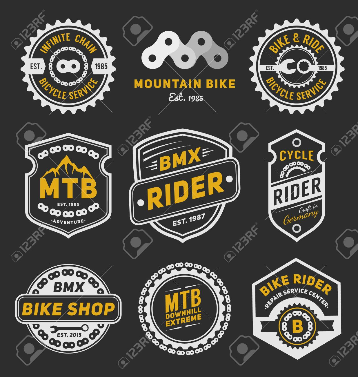 Design a bike sticker - Set Of Bicycle Badge Logo Template Design For Logo Label T Shirt