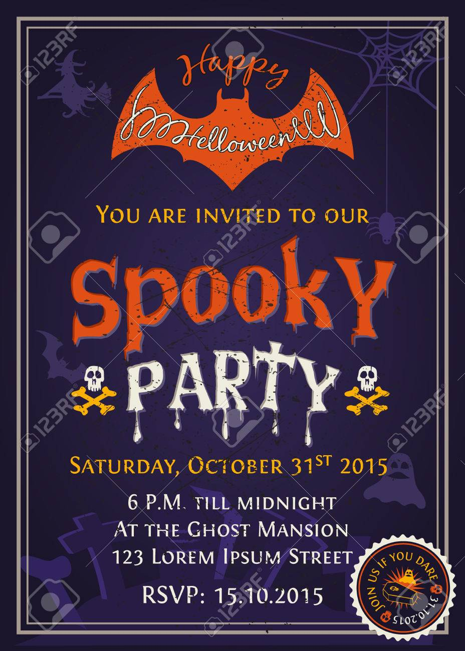 Spooky Halloween Party Invitation Card Design With Scary Typography ...