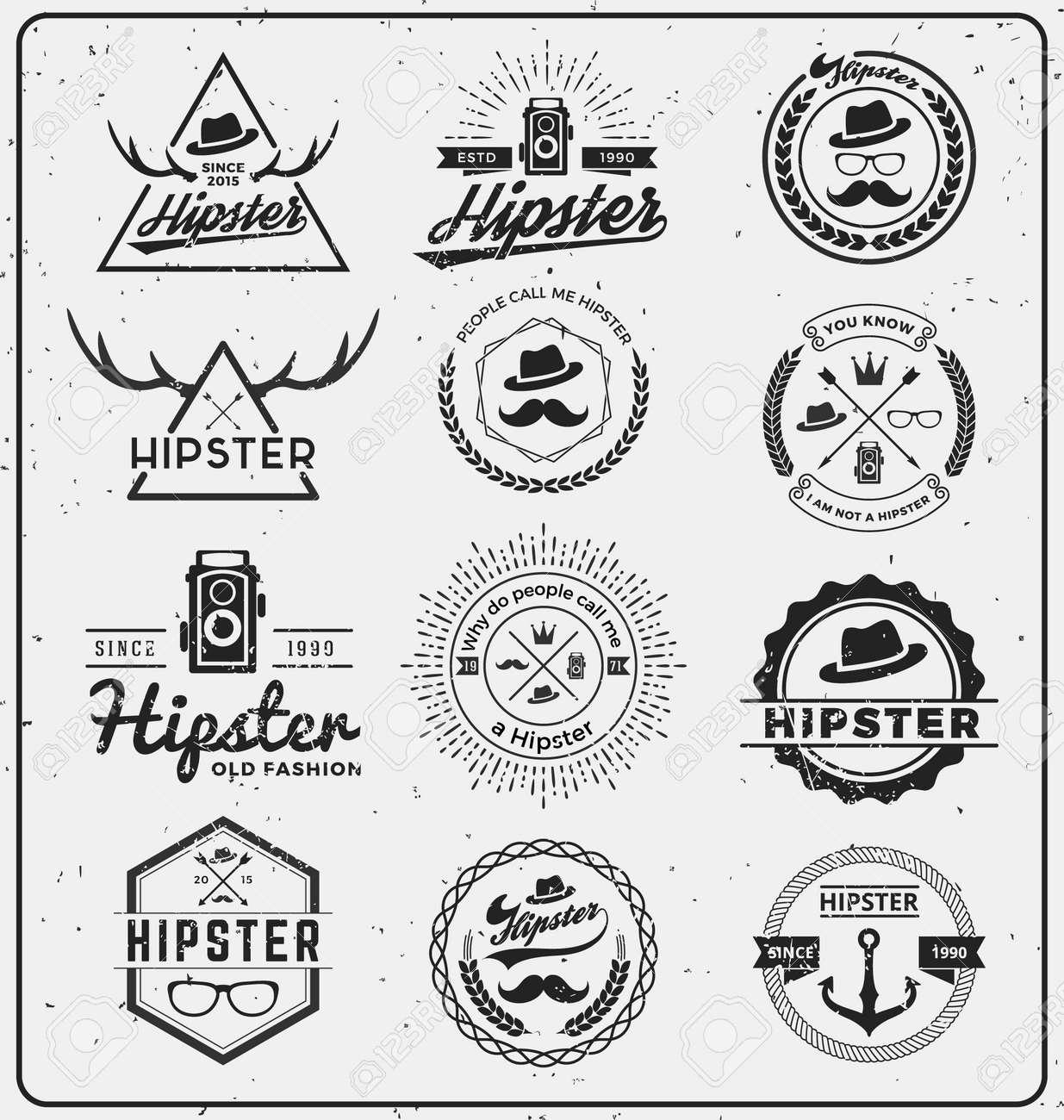 T-shirt logo design - Set Of Hipster Insignia Logo Design For Logo T Shirt Apparel Stamp