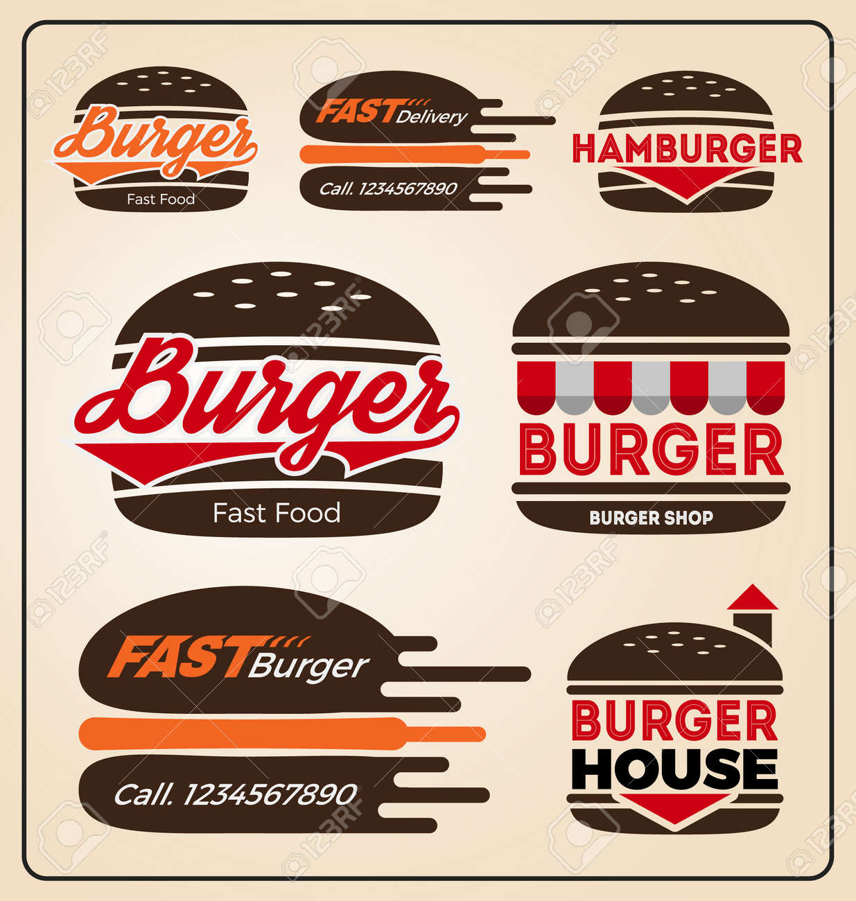 Set of burger shop icon logo design for branding sticker decoration product