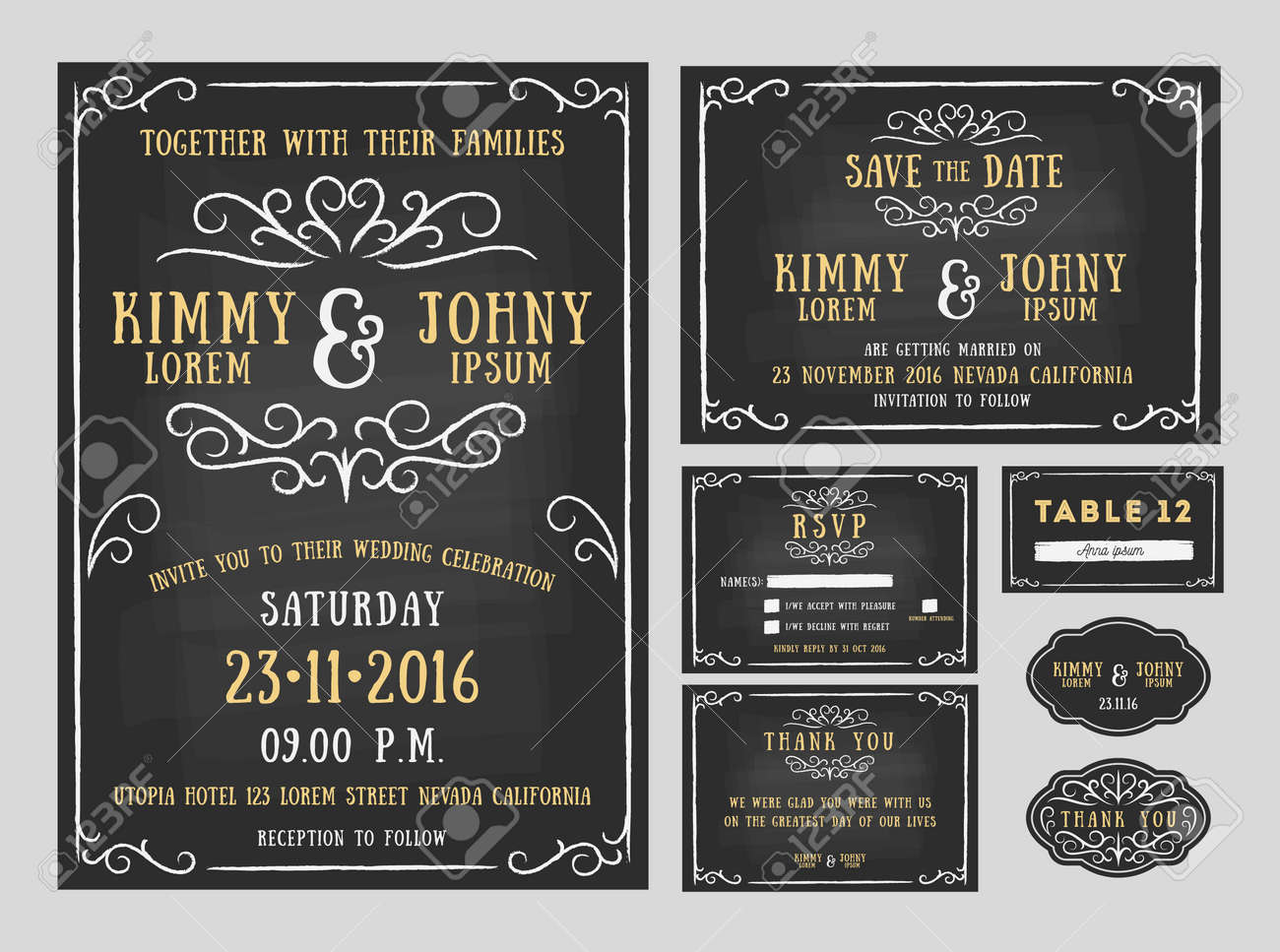Wedding invitation chalkboard design with flourishes line. include Invitation card, Save the date, RSVP card, Thank you card, Table number, Gift tags, Place cards, Respond card. Vector illustration - 45154607