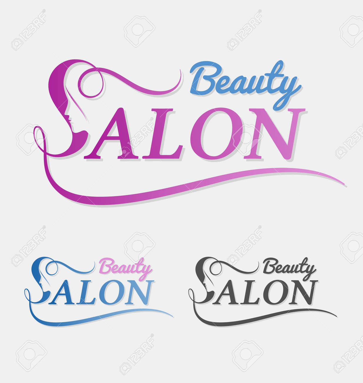 Beauty salon design with female face in negative space on letter S. Suitable for beauty salon, spa, massage, cosmetic and beauty concept with letter s. Vector illustration - 45154709