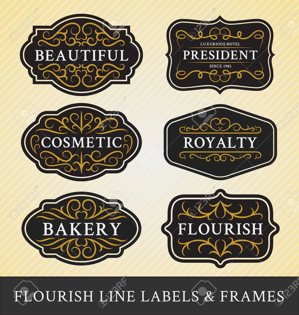 Set Flourish Kalligraphie Rahmen Und Etiketten-Design Für ...