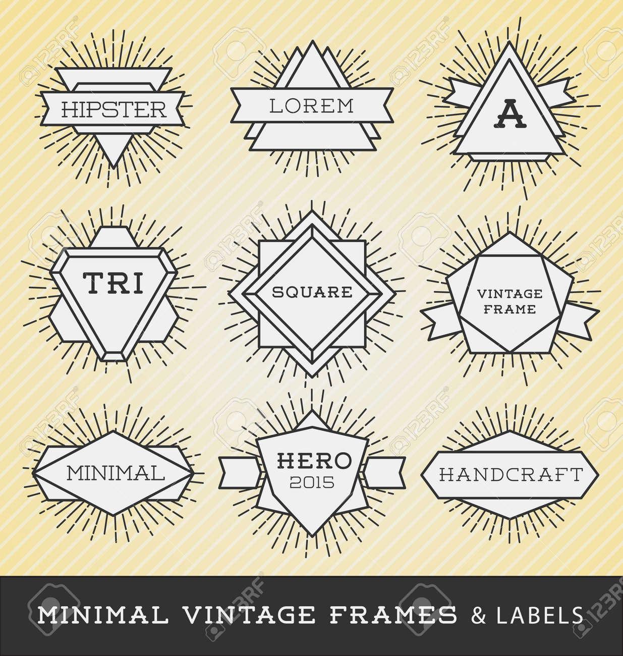 set of vintage line frames and labels with sunburst hipster