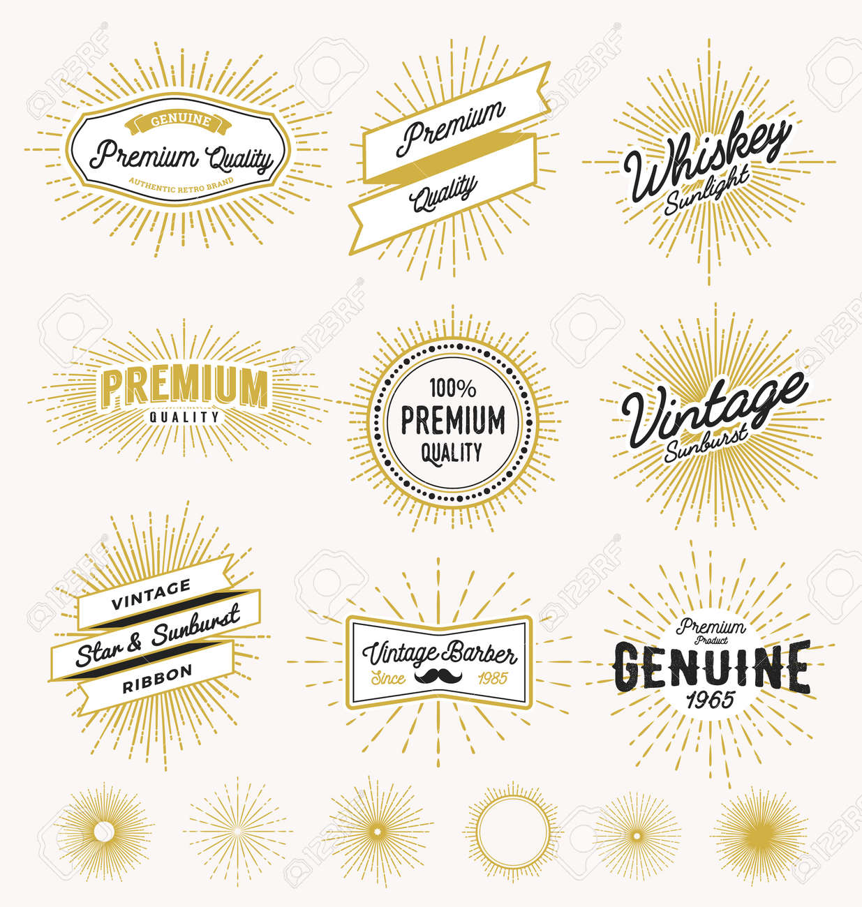 Set of vintage sunburst frame and label design. Vintage light ray sticker and banner collection for premium quality product, handcrafted product. Vector illustration - 45707855