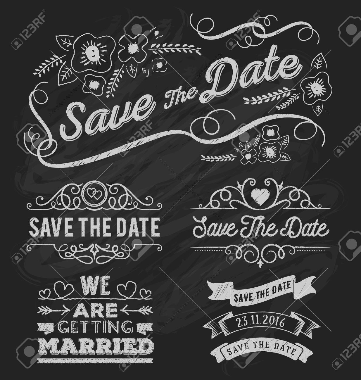 Set of save the date typography, frame and ribbon chalk style. Save the date frame and element on chalkboard design. Vector illustration - 45707860