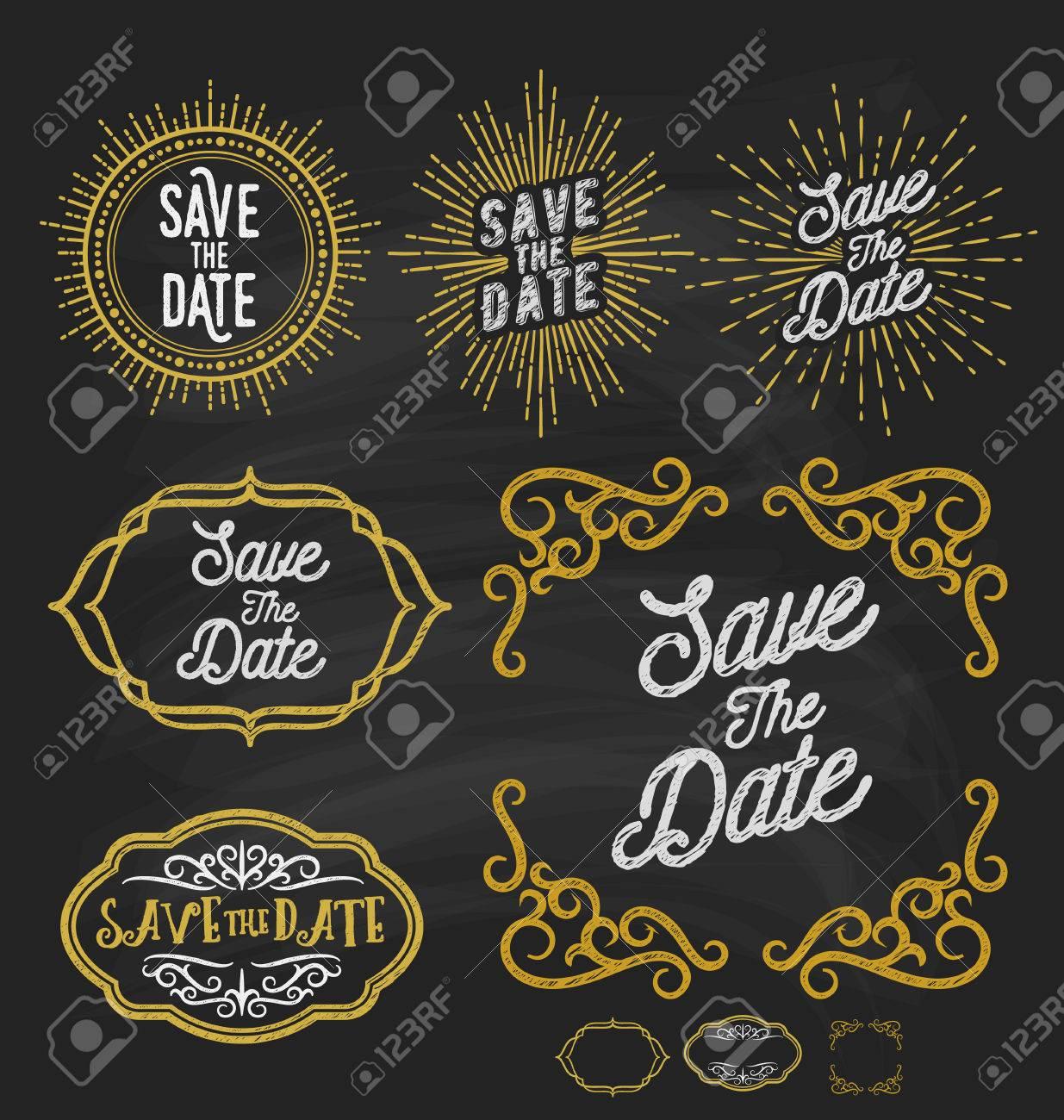 Save The Date Frame Border Chalkboard Style Vintage Sunburst And Flourish Line Corner