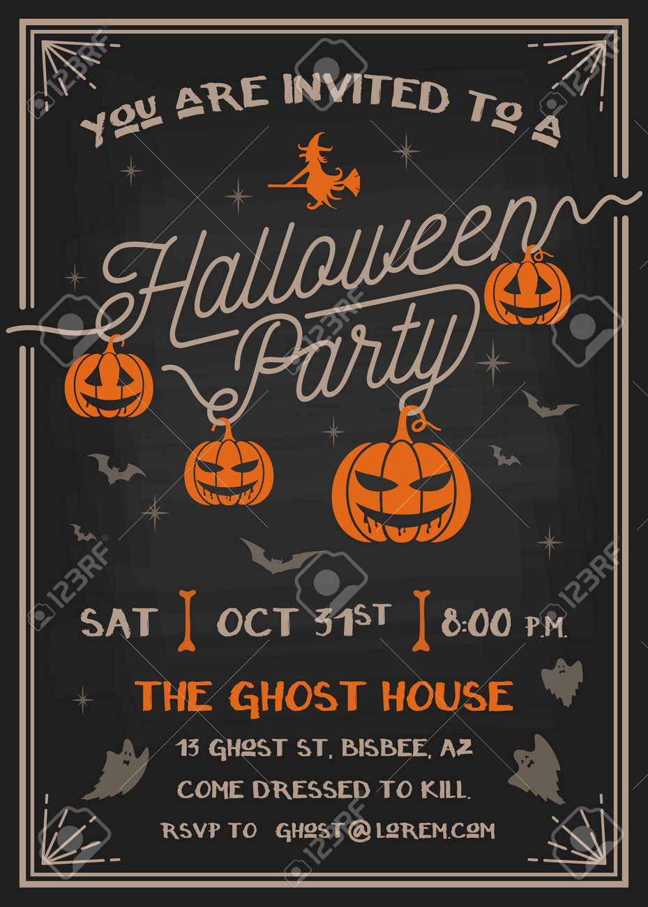 Typography Halloween Party Invitation Card With Scary Pumpkins ...