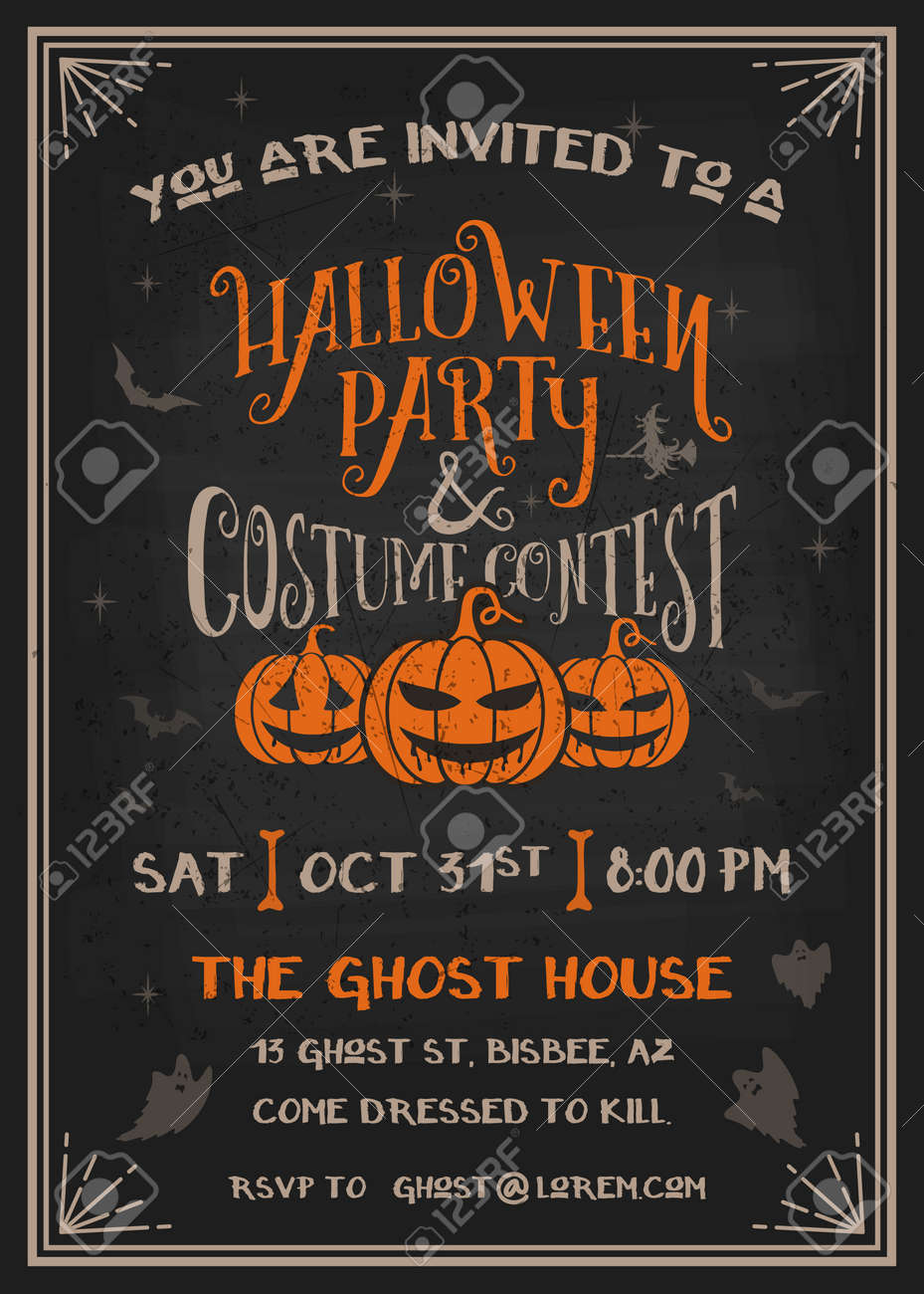 Typography Halloween Party And Costume Contest Invitation Card ...