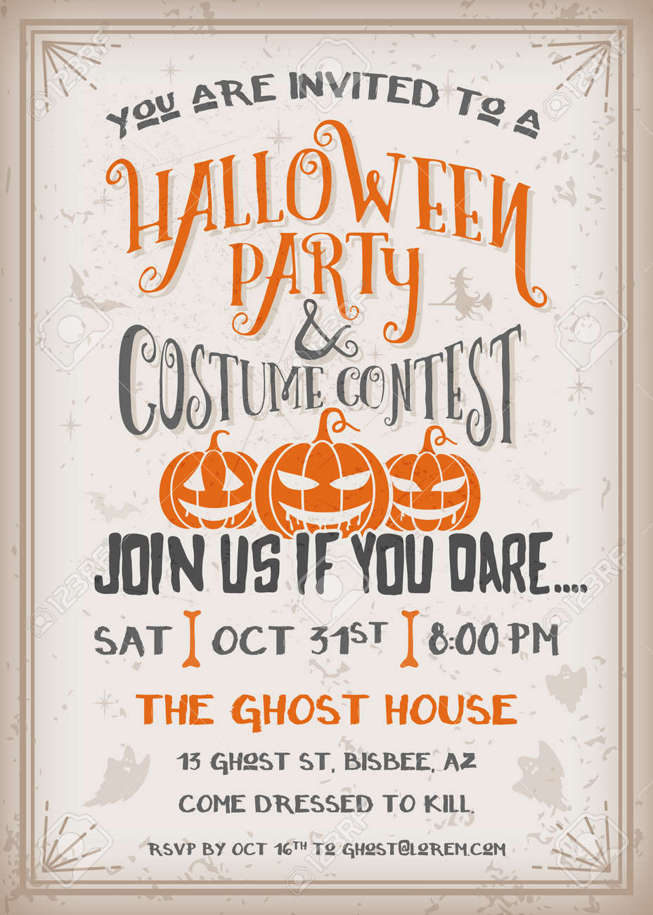 Halloween Party And Costume Contest Invitation With Scary Pumpkins Design Grunge Texture Easy To Remove