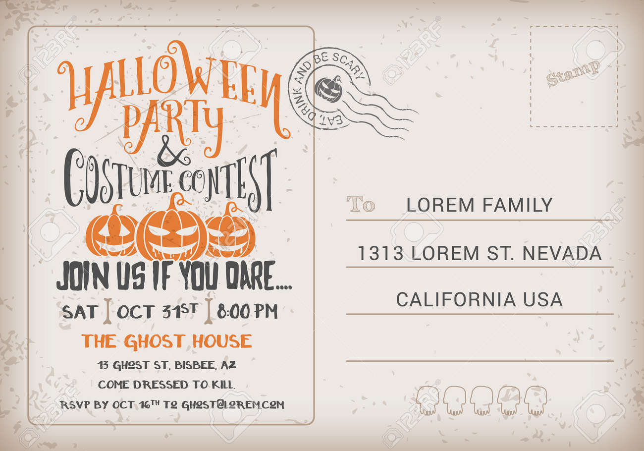 Halloween party and costume contest invitation template halloween halloween party and costume contest invitation template halloween rsvp card vintage background vector illustration stopboris Choice Image