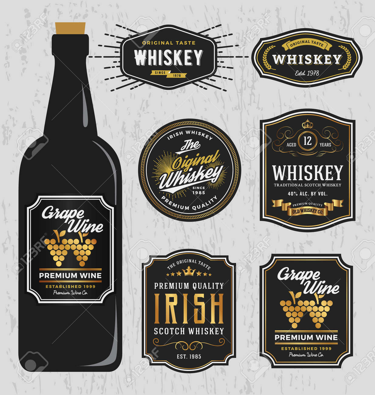 Vector   Vintage Premium Whiskey Brands Label Design Template, Resize Able  And Free Font Used. Vector Illustration