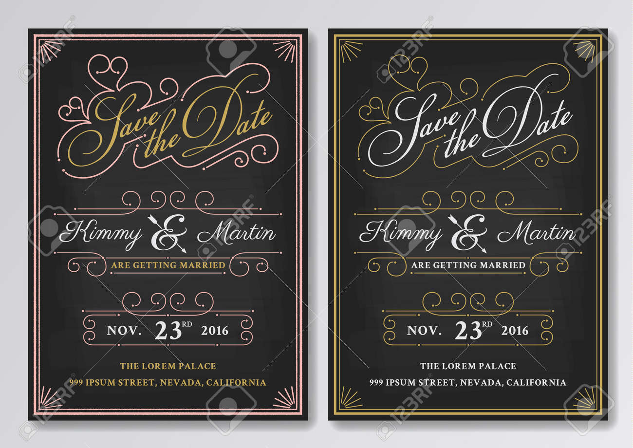 Vector   Vintage Chalkboard Save The Date Wedding Invitation Template. Easy  To Edit. Vector Illustration